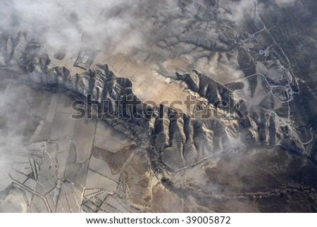 Aerial view of spanish mountains from hot air ballon