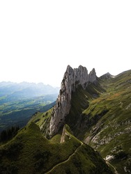 Aerial view of spectacular rock formation Saxer Lücke in the Appenzell region spotted during a hike near mountain Säntis (Appenzell, Switzerland, Europe)