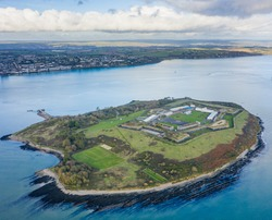 Aerial view of Spike Island, an island of 103 acres in Cork Harbour, Ireland. The island's strategic location within the harbour meant it was used at times for defence and as a prison.