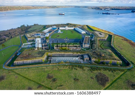 Photo of  Aerial view of Spike Island, an island of 103 acres in Cork Harbour, Ireland. The island's strategic location within the harbour meant it was used at times for defence and as a prison.