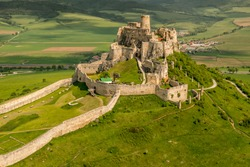 Aerial view of Spis (Spiš, Spišský) castle, second biggest castle in Middle Europe, Unesco Wold Heritage, Slovakia