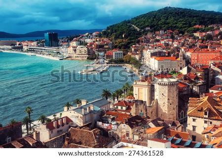 Aerial view of Split coast, Croatia Adriatic sea