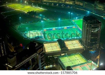Aerial view of sport stadiums in Hong Kong