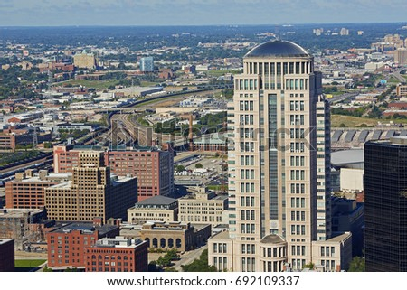 Aerial view of St Louis with the 'Thomas F Eagleton' United States courthouse Stock fotó ©