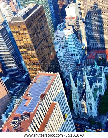 Aerial view of St Patricks church in New York City