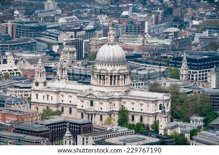 Aerial view of St Pauls Cathedral, London and the surrounding buildings and historical architecture in a travel concept