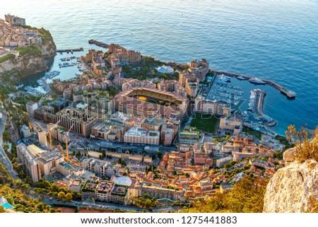 Aerial view of stadium of Monaco at sunrise, view from La Turbie, landmark of Monaco, Monte-Carlo, port Cap Dail, port Fontvieille, Monaco Ville,  blue sea, morning