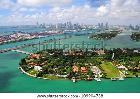 Aerial view of Star Islands, Miami, Florida, USA