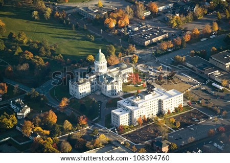 Aerial view of state capital building in augusta maine stock photo