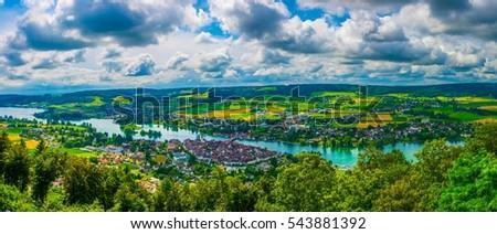 Aerial view of Stein am Rhein town in Switzerland #543881392
