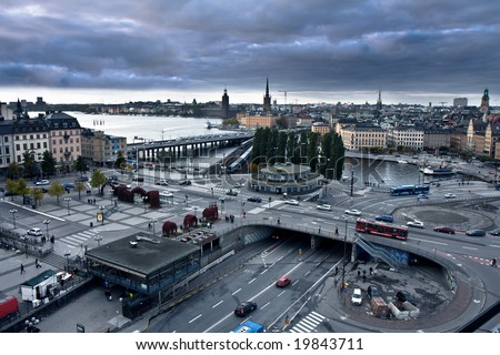Aerial view of Stockholm on a cloudy evening