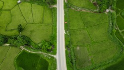 Aerial view of straight road in countryside and paddy field sides road.
