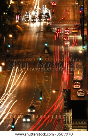 Aerial view of street scenes with traffic at night in downtown Chicago Illinois, USA
