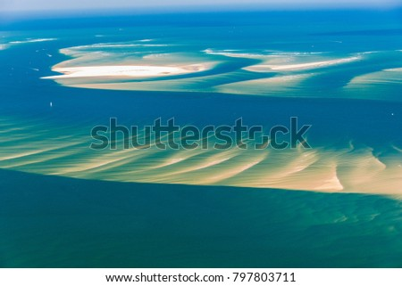 aerial view of submarine sand banks near Arcachon in France