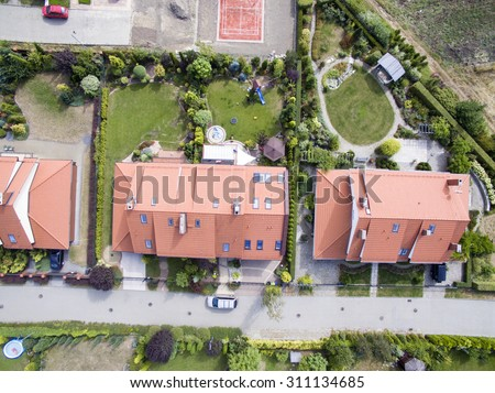 Aerial view of suburban houses #311134685