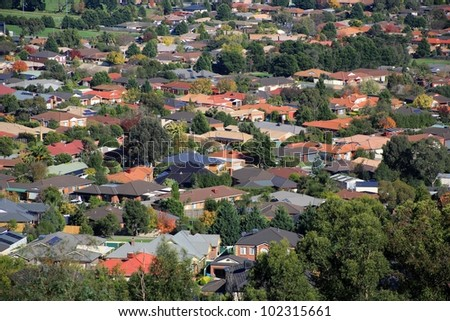 Aerial view of suburban houses in Melbourne, Australia
