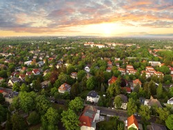 Aerial View of suburban Houses in sunset - germany