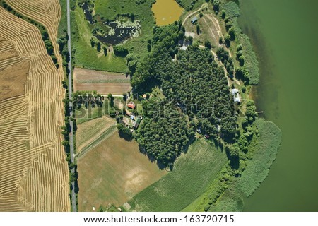 Aerial view of summer field and lake #163720715
