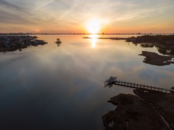Aerial view of sun rise over the mash near Ocean City, Maryland.