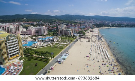 Aerial view of Sunny Beach, Bulgaria #693682684