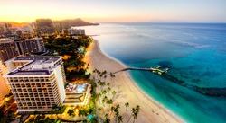 Aerial View of Sunrise at Waikiki Beach