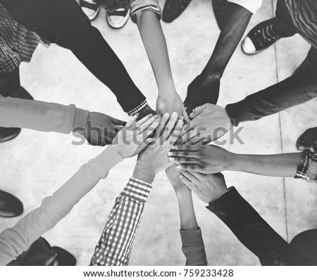Aerial view of supported hands out together
