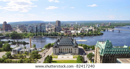 Aerial view of Supreme Court of Canada and Gatineau Skyline, Ottawa, Canada - stock photo