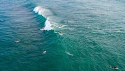Aerial view of surfers near Hikkaduwa beach. Hikkaduwa, Sri Lanka.