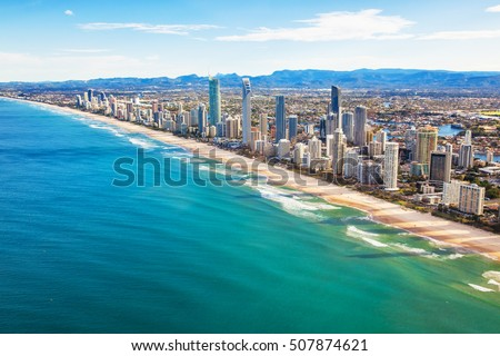 Aerial view of Surfers Paradise on the Gold Coast, Queensland, Australia #507874621