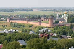 Aerial view of Suzdal with Saviour Monastery of Saint Euthymius. Suzdal, Russia