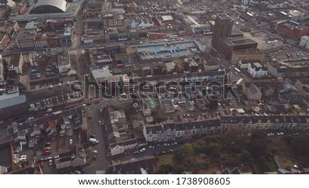 Aerial view of Swansea Colege of art and soroundings  Imagine de stoc ©