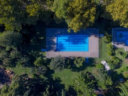 Aerial view of swimming pool. Top view.