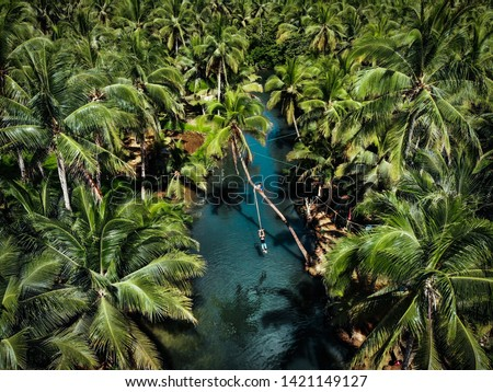 Aerial View of Swinging in Siargao Island - The Philippines