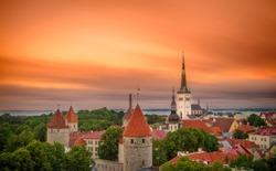 Aerial View of Tallinn Old Town, Estonia.The classic Iconic view of the city. Tallinn city wall and St. Olaf's Church view.