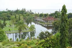 Aerial view of Taman Ujung near Alampura in Karangasem on Bali Island.