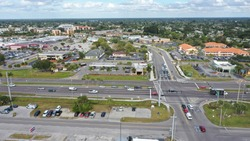 Aerial view of Tamiami trail and Revere St in downtown Port Charlotte Fl.