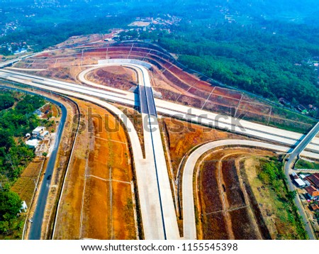 Aerial View of Tanjungsari Highway Interchange, Cisumdawu Toll Road, Sumedang, West Java, Indonesia, Asia