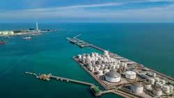 Aerial view of tank farm for bulk petroleum and gasoline storage, Crude oil storage terminal, pipeline operations, distributes petroleum products.