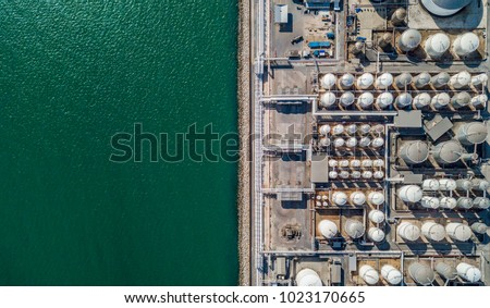 Aerial view of tank farm for bulk petroleum and gasoline storage, Crude oil storage terminal, pipeline operations, distributes petroleum products. stock photo