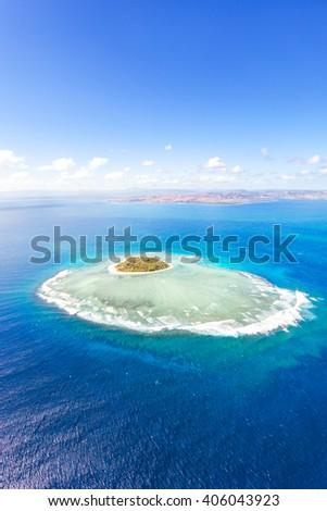 Aerial view of Tavarua, heart shaped island, Mamanucas islands, Fiji