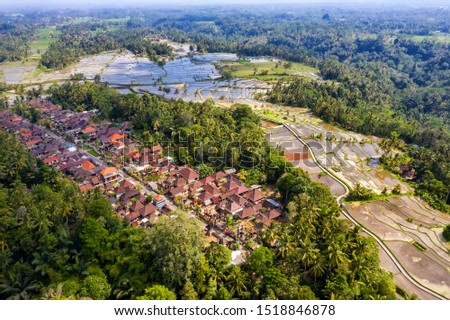Aerial View of Tegallalang village and Rice Field Terrace, Bandung, West Java Indonesia, Asia. Royalty high quality free stock image of Bali.