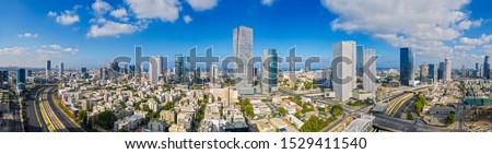 Aerial View Of Tel Aviv Skyline,  Tel Aviv Cityscape Panorama At Day, Israel Stock fotó ©