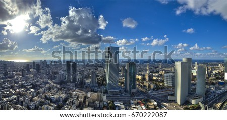 Aerial view of tel aviv skyline with urban skyscrapers and blue sky, Israel Stock fotó ©