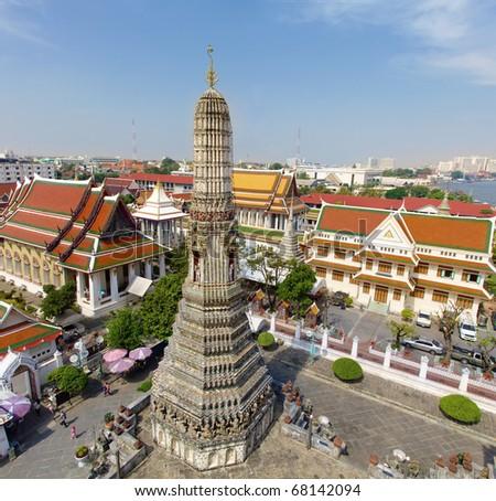 Aerial view of Temple of the Dawn (Wat Arun), Bangkok, Thailand
