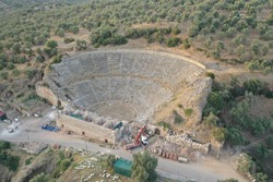 Aerial view of the ancient theatre at Nysa located in present Aydin, Turkey
