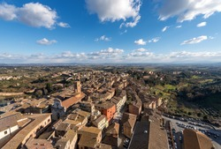 Aerial view of the ancient town of Siena from the Torre del Mangia (Tower of Mangia). Toscana (Tuscany), Italy, Europe