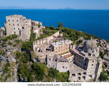 Aerial view of the Aragonese Castle, Ischia, Naples