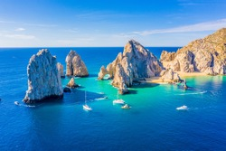 Aerial view of the Arch (El Arco) of Cabo San Lucas, Mexico, at the southernmost tip of the Baja California peninsula
