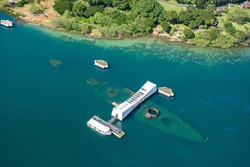 Aerial view of the Arizona memorial Pearl Harbor on Oahu, Hawaii