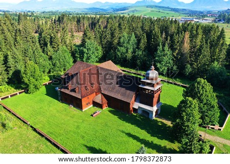 Aerial view of the Articular wooden church in the village of Svaty Kriz in Slovakia Stok fotoğraf ©